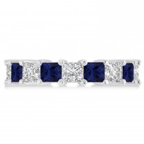 Princess Diamond & Blue Sapphire Wedding Band 14k White Gold (5.94ct)