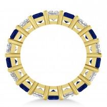 Princess Diamond & Blue Sapphire Wedding Band 14k Yellow Gold (5.94ct)