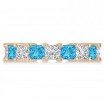 Princess Diamond & Blue Topaz Wedding Band 14k Rose Gold (5.94ct)