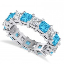 Princess Cut Diamond & Blue Topaz Eternity Wedding Band 14k White Gold (5.94ct)