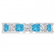 Princess Diamond & Blue Topaz Wedding Band 14k White Gold (5.94ct)