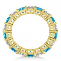 Princess Diamond & Blue Topaz Wedding Band 14k Yellow Gold (5.94ct)