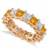 Princess Cut Diamond & Citrine Eternity Wedding Band 14k Rose Gold (5.94ct)