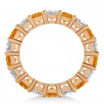 Princess Diamond & Citrine Wedding Band 14k Rose Gold (5.94ct)