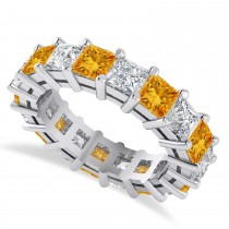 Princess Diamond & Citrine Wedding Band 14k White Gold (5.94ct)