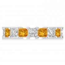Princess Diamond & Citrine Wedding Band 14k White Gold (5.94ct)