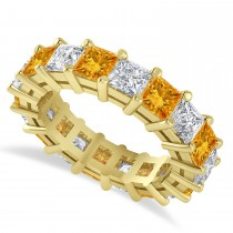 Princess Cut Diamond & Citrine Eternity Wedding Band 14k Yellow Gold (5.94ct)