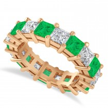 Princess Cut Diamond & Emerald Eternity Wedding Band 14k Rose Gold (5.94ct)