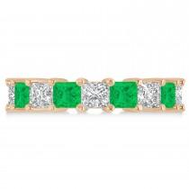 Princess Diamond & Emerald Wedding Band 14k Rose Gold (5.94ct)