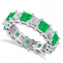 Princess Diamond & Emerald Wedding Band 14k White Gold (5.94ct)
