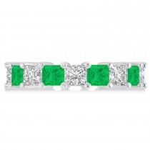 Princess Diamond & Emerald Wedding Band 14k White Gold (5.94ct)