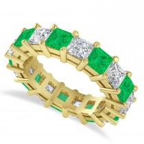 Princess Diamond & Emerald Wedding Band 14k Yellow Gold (5.94ct)