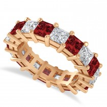 Princess Diamond & Garnet Wedding Band 14k Rose Gold (5.94ct)