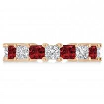 Princess Diamond & Garnet Wedding Band 14k Rose Gold (5.94ct)