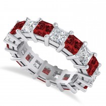 Princess Diamond & Garnet Wedding Band 14k White Gold (5.94ct)