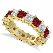 Princess Diamond & Garnet Wedding Band 14k Yellow Gold (5.94ct)