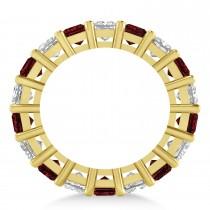 Princess Diamond & Garnet Wedding Band 14k Yellow Gold (5.94ct)