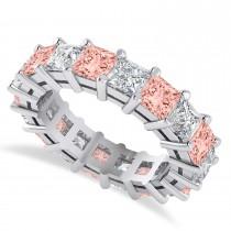 Princess Cut Diamond & Morganite Eternity Wedding Band 14k White Gold (5.94ct)
