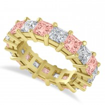 Princess Cut Diamond & Morganite Eternity Wedding Band 14k Yellow Gold (5.94ct)