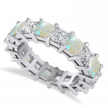 Princess Cut Diamond & Opal Eternity Wedding Band 14k White Gold (5.94ct)