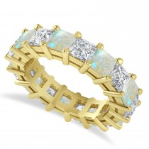 Princess Cut Diamond & Opal Eternity Wedding Band 14k Yellow Gold (5.94ct)