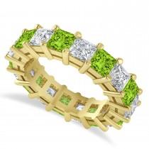 Princess Cut Diamond & Peridot Eternity Wedding Band 14k Yellow Gold (5.94ct)