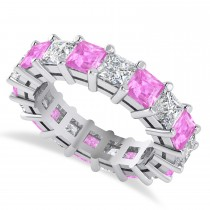 Princess Cut Diamond & Pink Sapphire Eternity Wedding Band 14k White Gold (5.94ct)