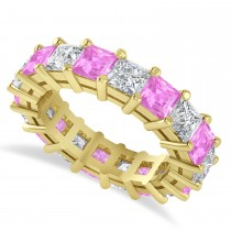 Princess Cut Diamond & Pink Sapphire Eternity Wedding Band 14k Yellow Gold (5.94ct)
