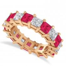 Princess Cut Diamond & Ruby Eternity Wedding Band 14k Rose Gold (5.94ct)