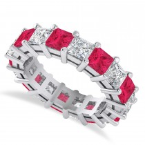 Princess Cut Diamond & Ruby Eternity Wedding Band 14k White Gold (5.94ct)