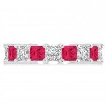 Princess Diamond & Ruby Wedding Band 14k White Gold (5.94ct)