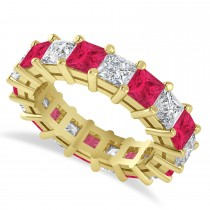 Princess Diamond & Ruby Wedding Band 14k Yellow Gold (5.94ct)