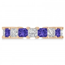Princess Diamond & Tanzanite Wedding Band 14k Rose Gold (5.94ct)