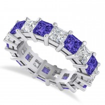 Princess Cut Diamond & Tanzanite Eternity Wedding Band 14k White Gold (5.94ct)