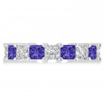 Princess Diamond & Tanzanite Wedding Band 14k White Gold (5.94ct)