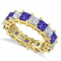 Princess Cut Diamond & Tanzanite Eternity Wedding Band 14k Yellow Gold (5.94ct)