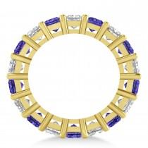 Princess Diamond & Tanzanite Wedding Band 14k Yellow Gold (5.94ct)