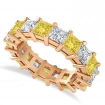 Princess Cut Yellow Diamond Eternity Wedding Band 14k Rose Gold (5.58ct)