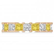 Princess Yellow & White Diamond Wedding Band 14k Rose Gold (5.58ct)