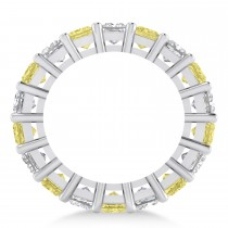 Princess Cut Yellow Diamond Eternity Wedding Band 14k White Gold (5.58ct)