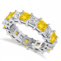 Princess Cut Diamond & Yellow Sapphire Eternity Wedding Band 14k White Gold (5.94ct)