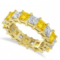 Princess Diamond & Yellow Sapphire Wedding Band 14k Yellow Gold (5.94ct)