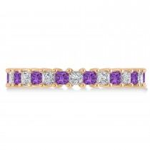 Princess Diamond & Amethyst Wedding Band 14k Rose Gold (2.32ct)