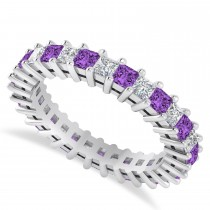 Princess Cut Diamond & Amethyst Eternity Wedding Band 14k White Gold (2.32ct)