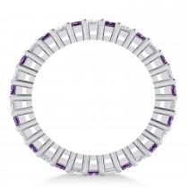 Princess Diamond & Amethyst Wedding Band 14k White Gold (2.32ct)