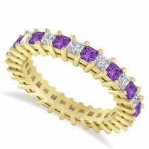 Princess Cut Diamond & Amethyst Eternity Wedding Band 14k Yellow Gold (2.32ct)