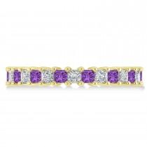 Princess Diamond & Amethyst Wedding Band 14k Yellow Gold (2.32ct)