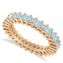 Princess Cut Diamond & Aquamarine Eternity Wedding Band 14k Rose Gold (2.32ct)
