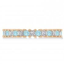 Princess Diamond & Aquamarine Wedding Band 14k Rose Gold (2.32ct)