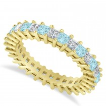 Princess Cut Diamond & Aquamarine Eternity Wedding Band 14k Yellow Gold (2.32ct)